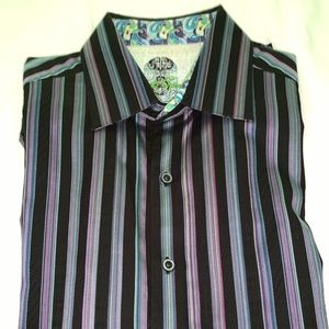 Robert Graham black striped Men's shirt- Large